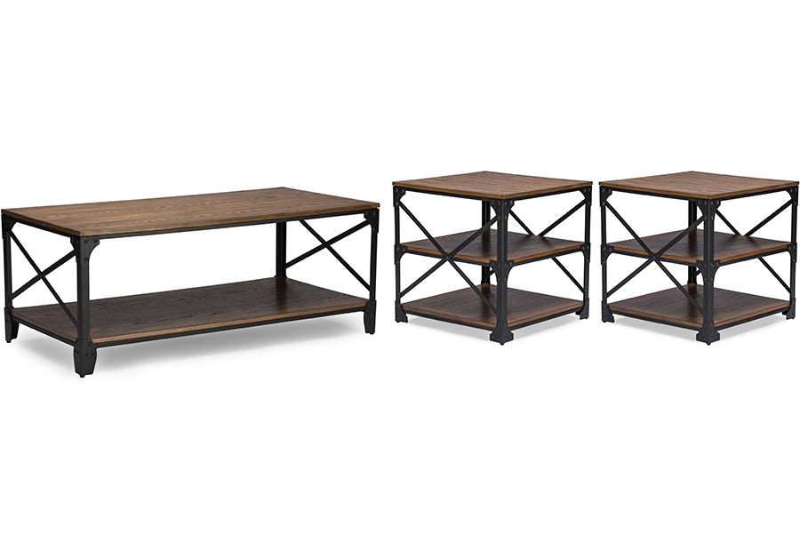 Vintage Industrial Metal Coffee Table & End Tables in Brown