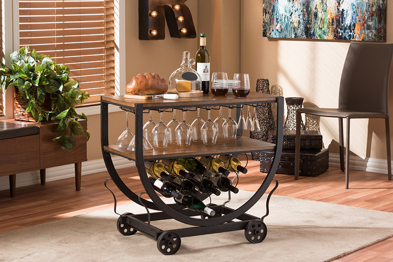 Vintage Industrial Metal Wheeled Wine Rack Cart in Brown