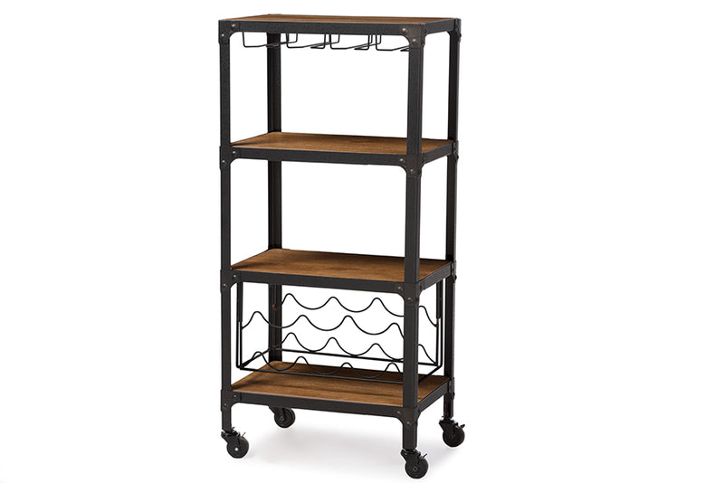 Rustic Industrial Metal Mobile Kitchen Bar Wine Storage Shelf in Black/Brown - The Furniture Space.