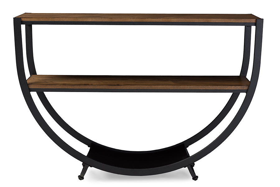 Rustic Industrial Metal Console Table in Black/Brown - The Furniture Space.