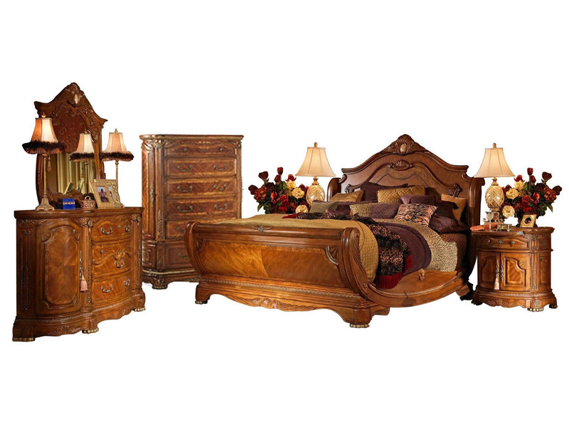 Aico Amini Cortina 6PC Bedroom Set Cal King Sleigh Bed Dresser Mirror Two Bedside Chest Chest in Honey Walnut