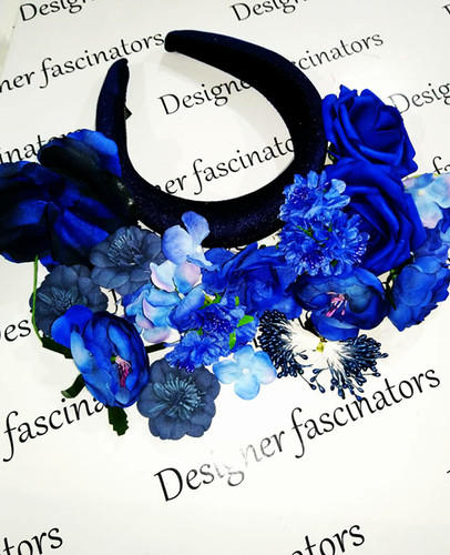 DIY kit navy blue headband flower craft box Designer Fascinators
