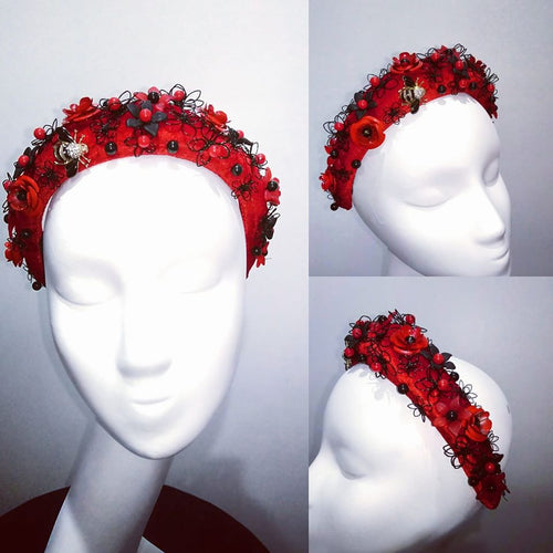 Red black embellished crown headband fascinator headpiece  Designer Fascinators unique race day wear