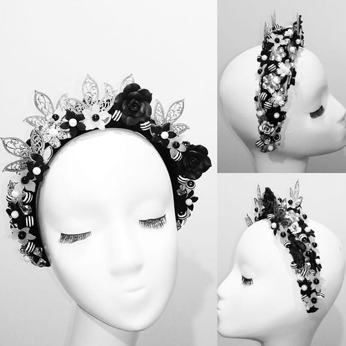 Black, white & silver embellished crown headband fascinator headpiece  Designer Fascinators unique race day wear