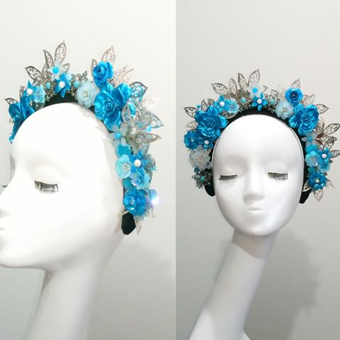 Turquoise blue & silver embellished crown headband fascinator headpiece  Designer Fascinators unique race day wear