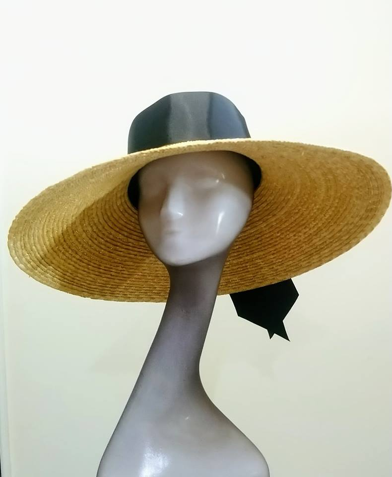 Natural straw large sloped brim hat with black band tie Designer fascinators racing fashion