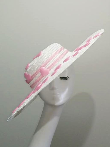 White large flat brim boater hat with pink hearts  Designer fascinators racing fashion