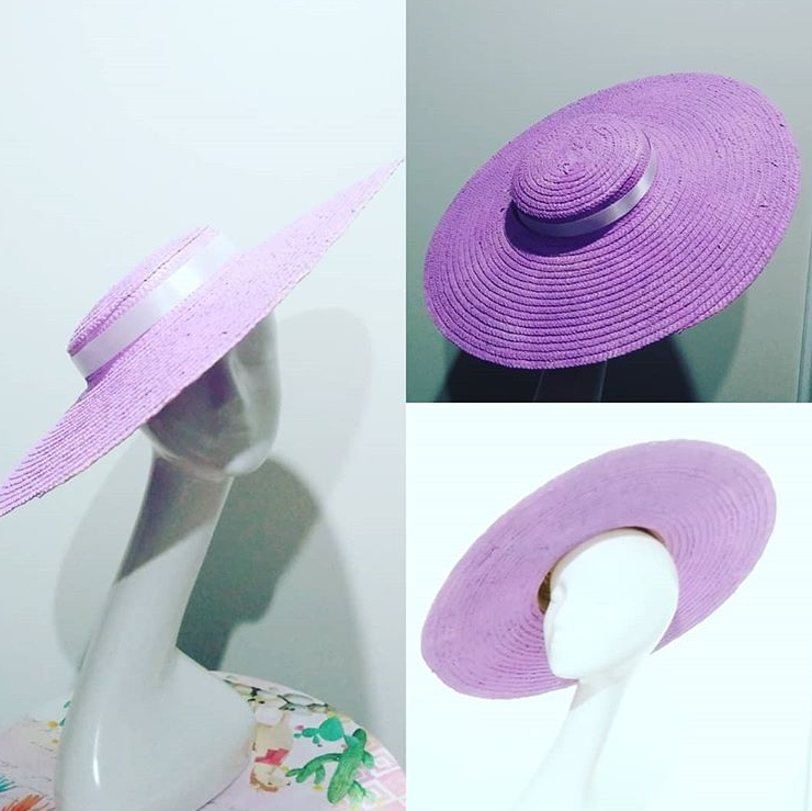 Mauve large flat firm brim boater hat with your choice of ribbon Designer fascinators racing fashion.