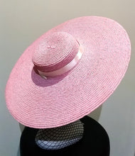 Pale pink large flat brim boater hat with pink ribbon Designer fascinators racing fashion