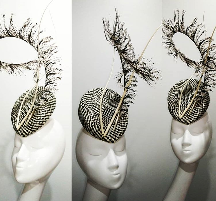 Black & off white buntal base with pheasant feather and twisted quills headpiece designer fascinators race day fashion