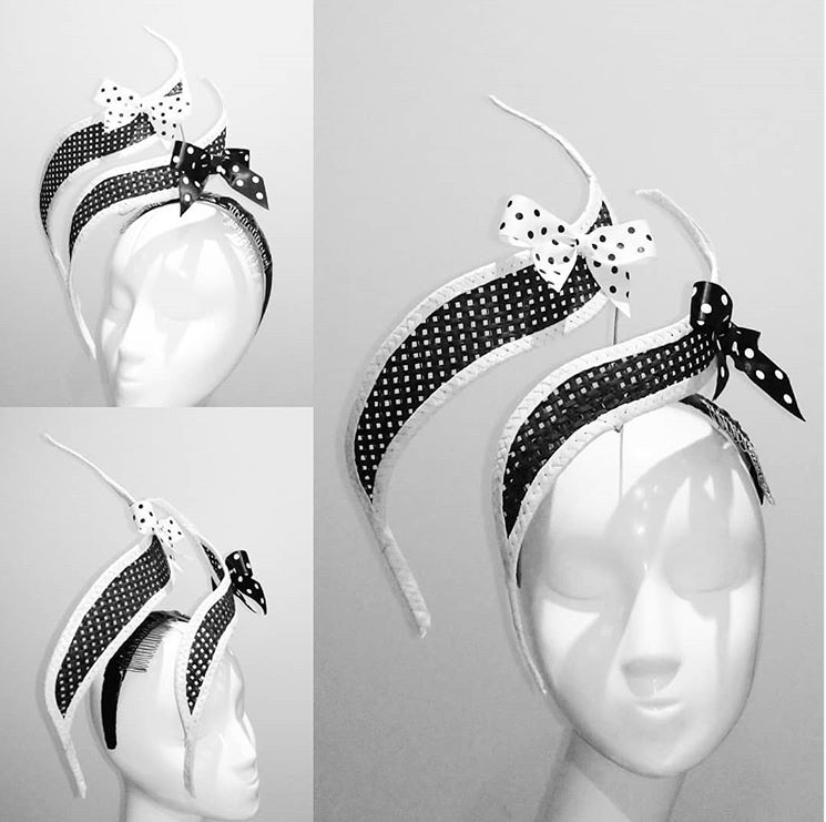 Black and white bows floating statement fascinator headpiece with white dandelion Designer Fascinators unique race day wear