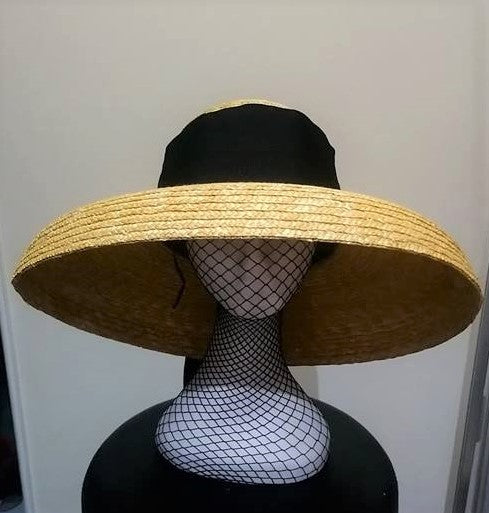 Natural straw Dior Audrey style hat with black band tie Designer fascinators racing fashion