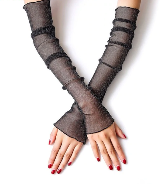 Mesh long sleeve gloves black shimmer, so elegant Racing fashion  accessories Free postage -  gloves ONLY