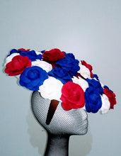 Navy, off white and burgundy felt flower headpiece Designer fascinators racing fashion