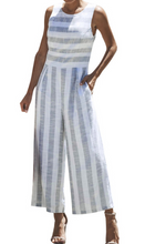 White and grey striped linen jumpsuit size 8