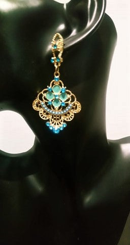 Beautiful blue teal chandelier drop earrings Designer Fascinators