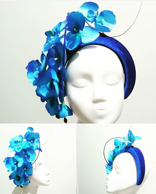 Blue headband with orchids & twisted quill elegant floral headpiece designer fascinators race day fashion