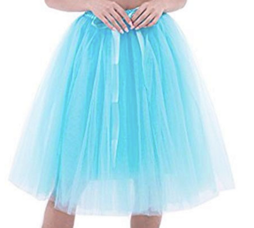 blue pale 7 layer soft tulle skirt elastic waist size 10 - 14  Designer Fascinators