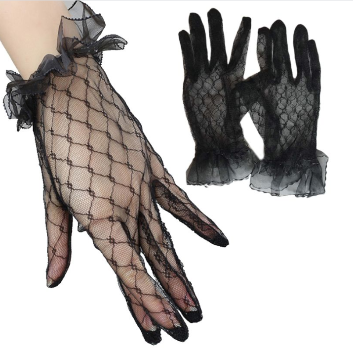 Black sheer lace gloves  so elegant Racing fashion  accessories
