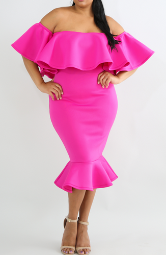 Hot pink scuba fabric off shoulder ruffle dress size 18 /20.  Designer Fascinators