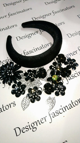 DIY  kit Black & sliver  headband embellishment craft box Designer Fascinators
