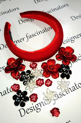 DIY  kit red & black headband embellishment craft box Designer Fascinators