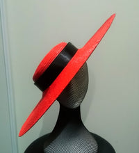 Red large flat brim boater hat with black ribbon Designer fascinators racing fashion