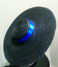 black large flat brim boater hat with blue ribbon Designer fascinators racing fashion