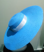 Pale blue large flat brim boater hat with white ribbon Designer fascinators racing fashion