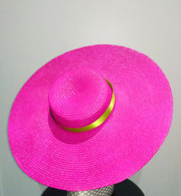 Fuchsia pink large flat brim boater hat with lime green ribbon Designer fascinators racing fashion