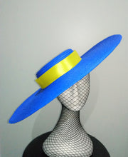 Blue large flat brim boater hat with yellow ribbon Designer fascinators racing fashion