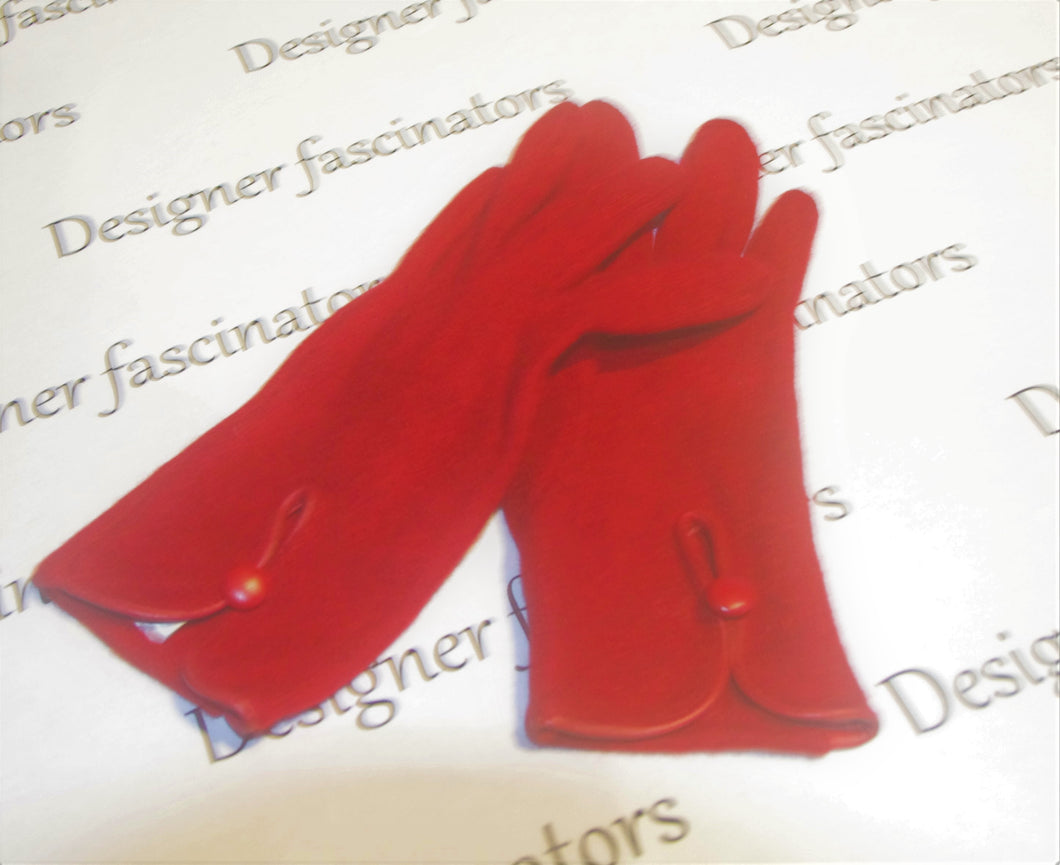 Red wool gloves with leather trim so elegant Racing fashion  accessories Free postage -  gloves ONLY