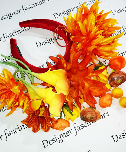 DIY kit autumn orange headband flower craft box Designer Fascinators