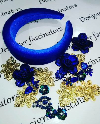 DIY  kit Blue & gold  headband embellishment craft box Designer Fascinators