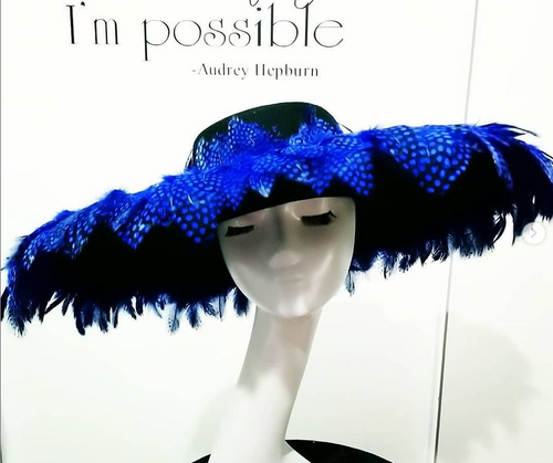 Black felt boater covered with Cobalt blue feather headpiece Designer fascinators racing fashion
