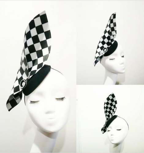 Black and white check statement fascinator headpiece great for derby day. Designer Fascinators unique race day wear