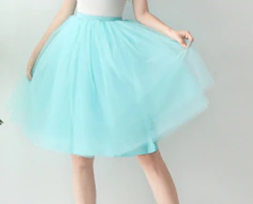 Blue pale soft tulle skirt elastic waist size 10 - 14  Designer Fascinators
