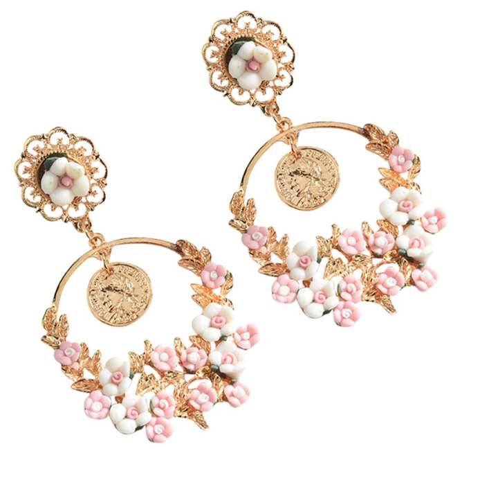 Beautiful hoop white pink flower drop earrings Designer Fascinators
