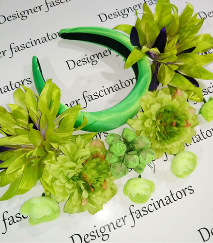 DIY kit shades of green headband flower craft box Designer Fascinators