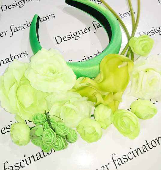 DIY kit lime green headband flower craft box Designer Fascinators