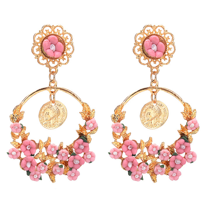 Beautiful hoop  pink flower drop earrings Designer Fascinators