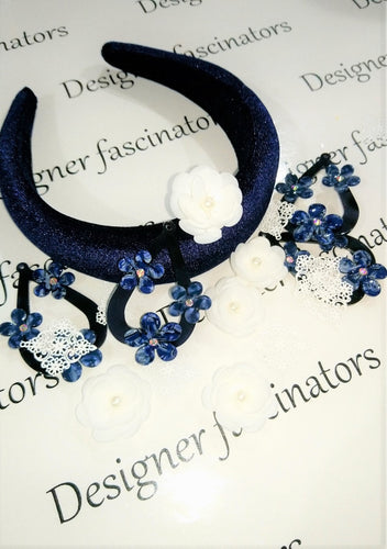 DIY kit Navy & white headband embellishment craft box Designer Fascinators