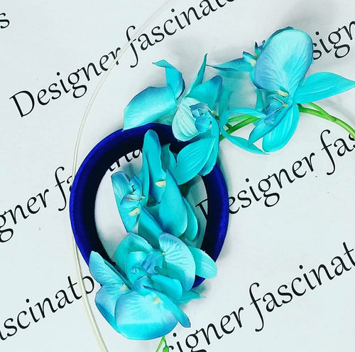 DIY  kit teal blue orchid headband  craft box Designer Fascinators