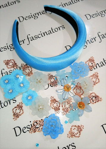 DIY kit Blue & rose gold headband embellishment craft box Designer Fascinators