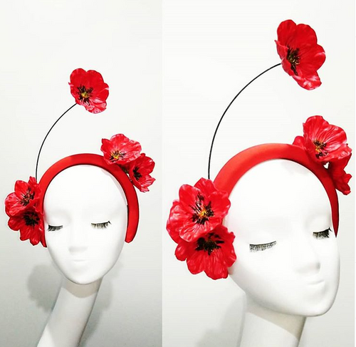 Red Poppies headband millinery headpiece designer fascinators race day fashion
