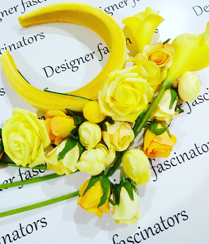 DIY kit yellow headband flower craft box Designer Fascinators