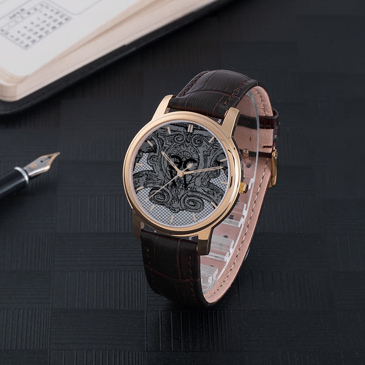 Stylist ECXV™ 30 Meters Waterproof Quartz Fashion Watch With Brown Genuine Leather Band