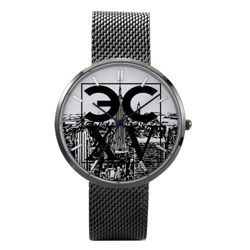 Eccentric NY City 30 Meters Waterproof Quartz Fashion Watch With Casual Stainless Steel Band