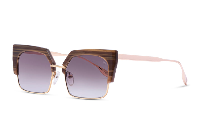 luxury gold square metal glasses with cedar acetate and smoke gradient lens