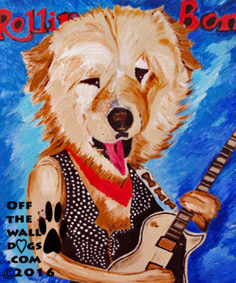 Chow Chow rock star doggie 8x10 print from original artwork